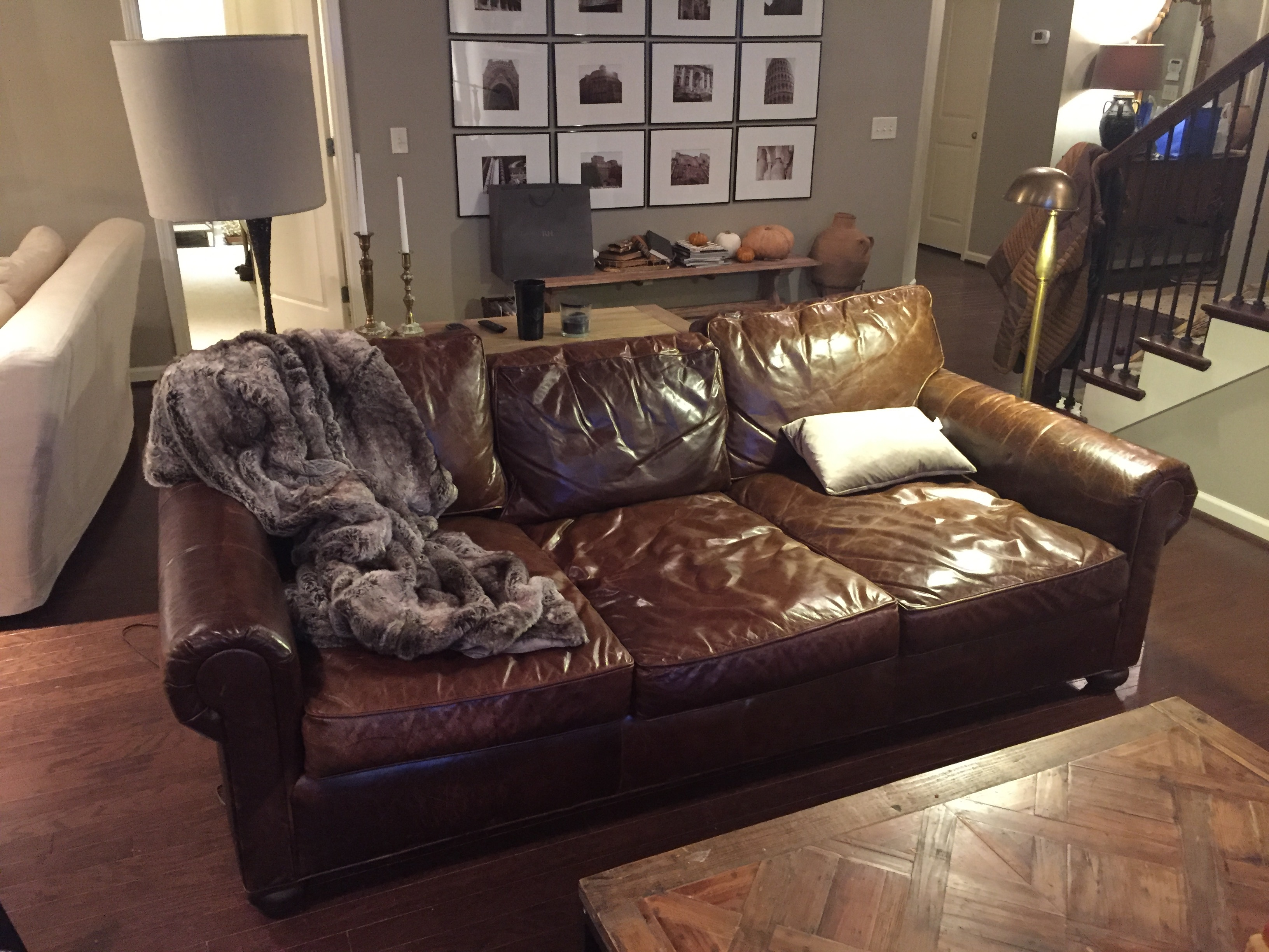 Restoration Hardware Leather : Owner of used rh lancaster aniline wax pull up leather