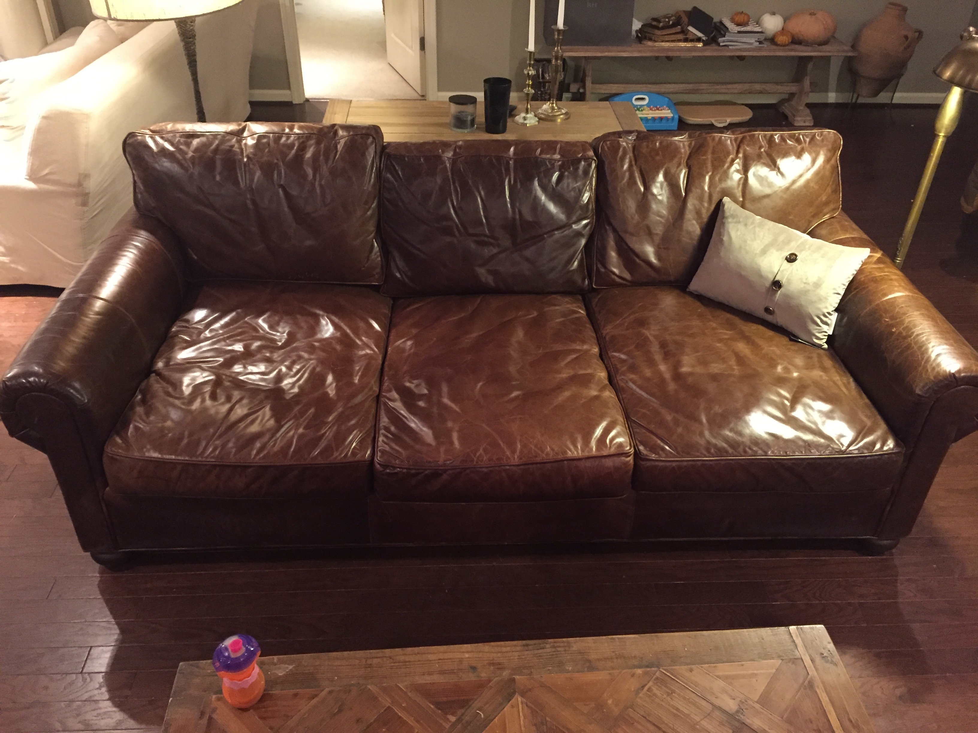 Owner Of Used Rh Lancaster Aniline Wax Pull Up Leather Sofa See