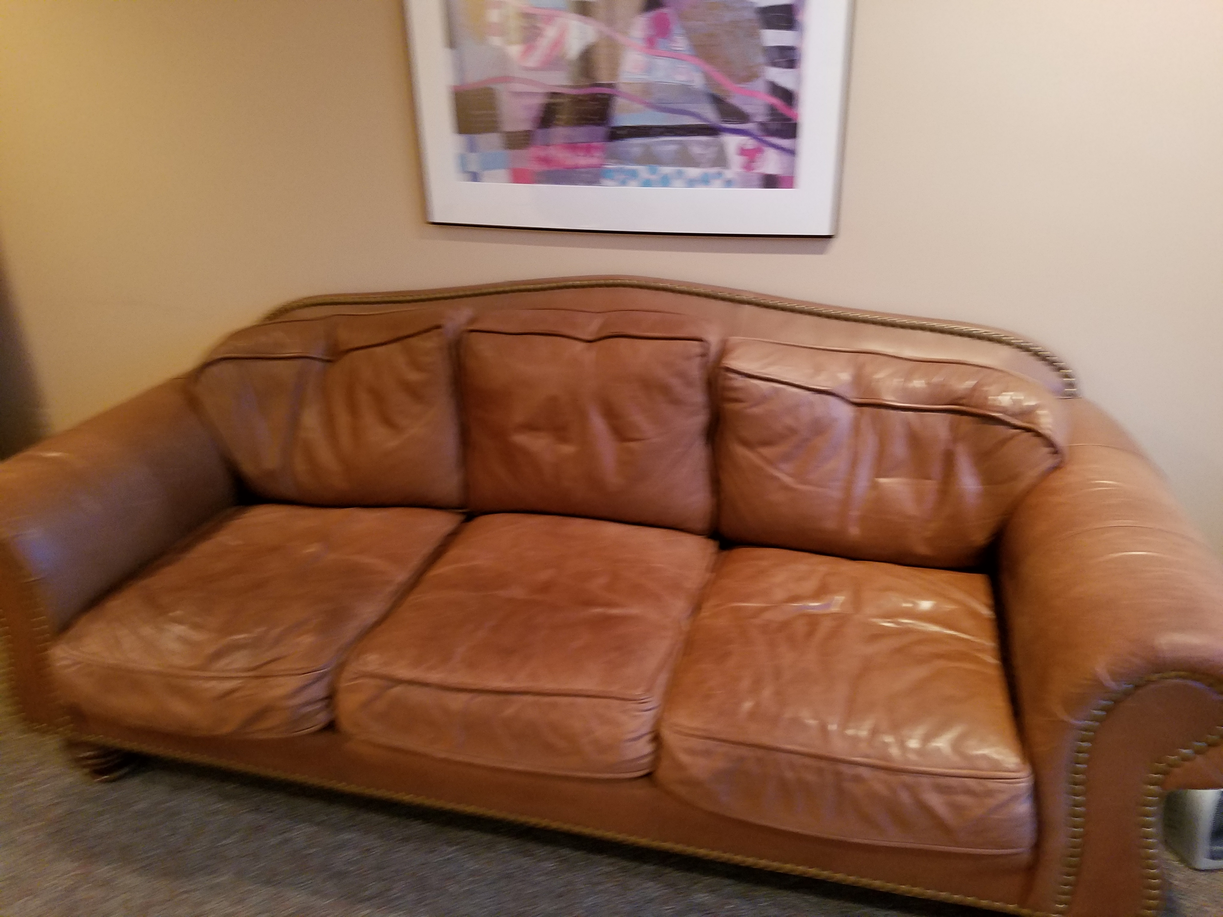 Wainwright Semi Aniline Leather Sofa With Pigment Loss And Ing On Arms